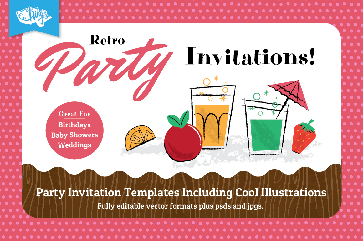 retro party invitation design templates for members
