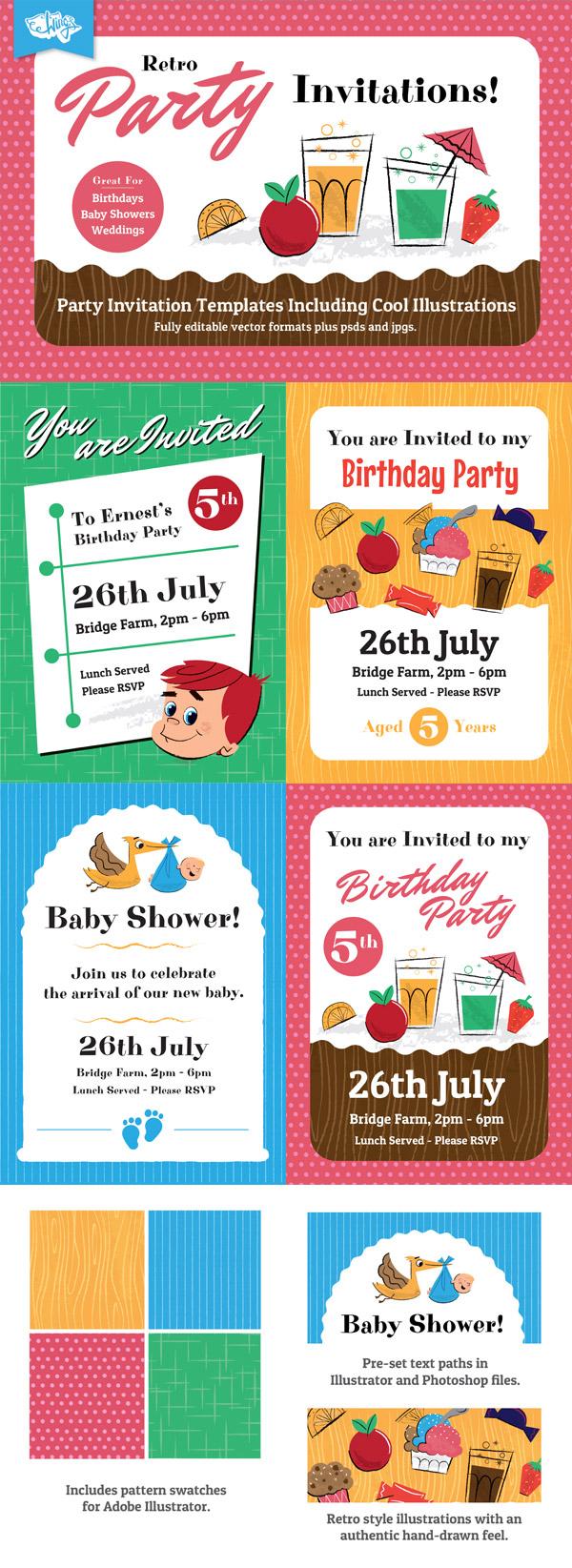 retro party invitation design templates for members