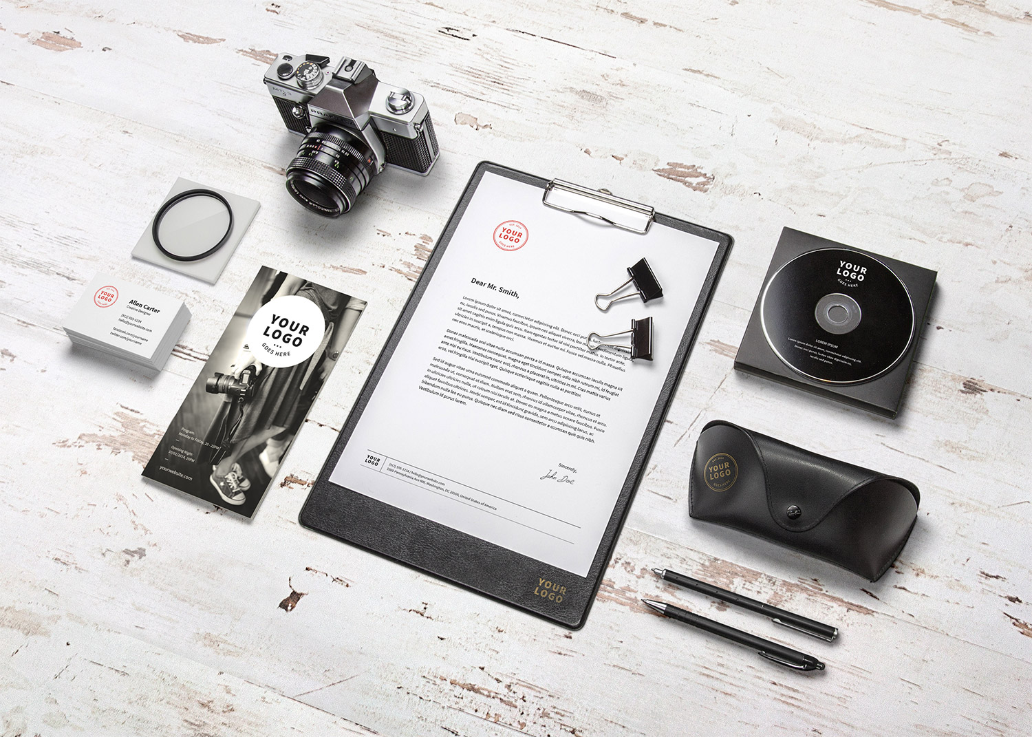 20 Free Branding/Identity Mockups with Themed Items