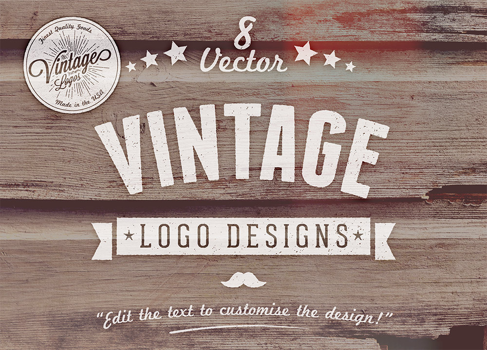 8 free customizable vector vintage style logo designs. Black Bedroom Furniture Sets. Home Design Ideas