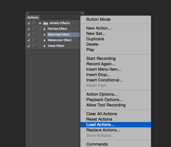 Load Actions in Photoshop