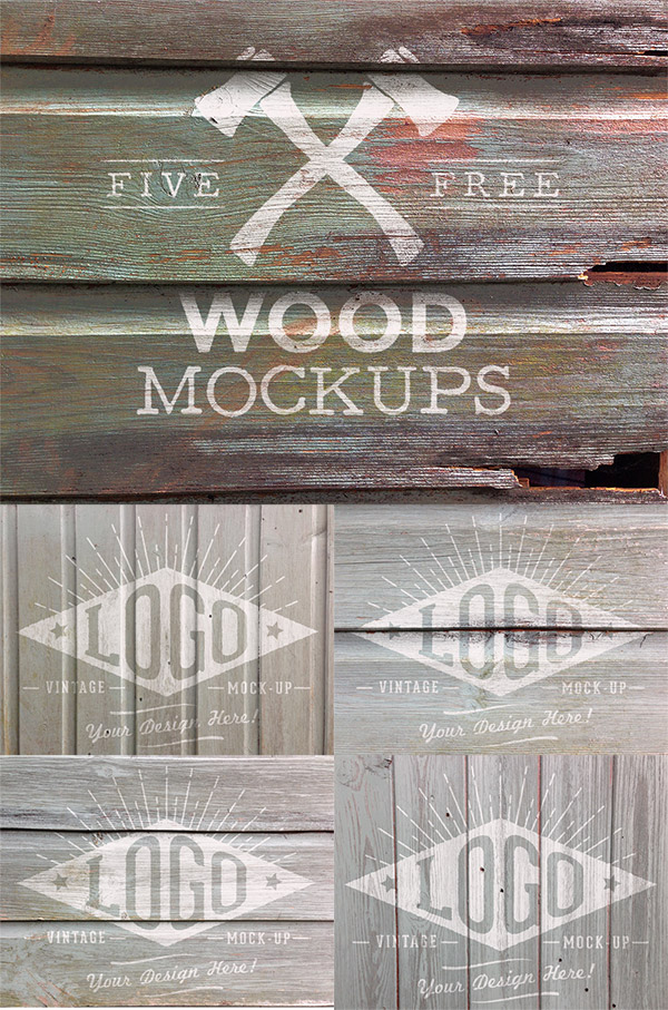 5 Free Weathered Wood Logo Mockup Textures