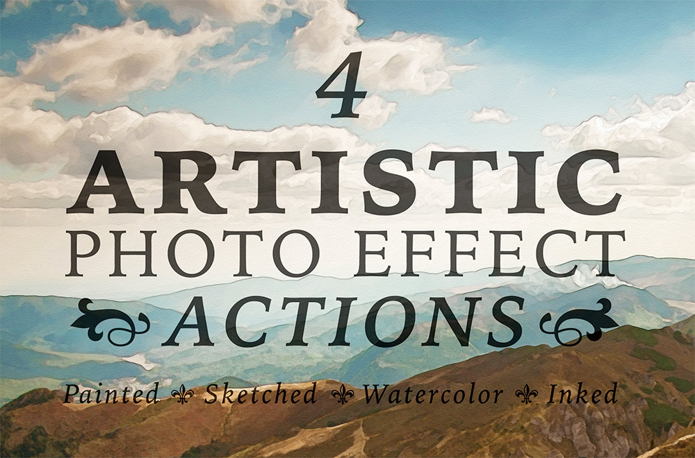4 free artistic paint sketch ink photo effect actions