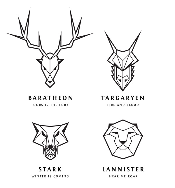 Vector Drawing Lines Game : Game of thrones inspired line art logos in illustrator