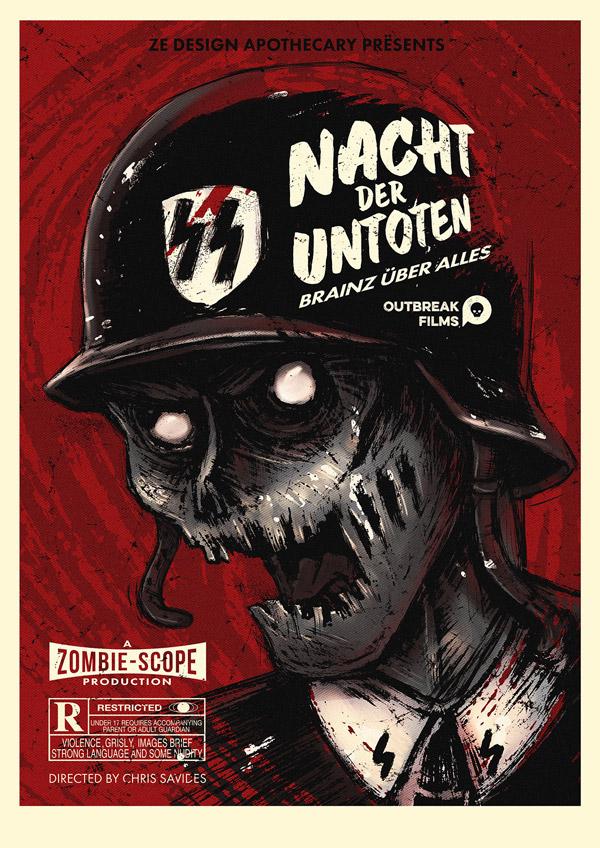 Vintage Zombie Film Poster by Chris Savides