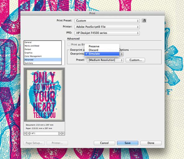 Simulate Overprinting setting
