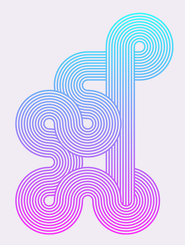 Geometric Stripy Line Art
