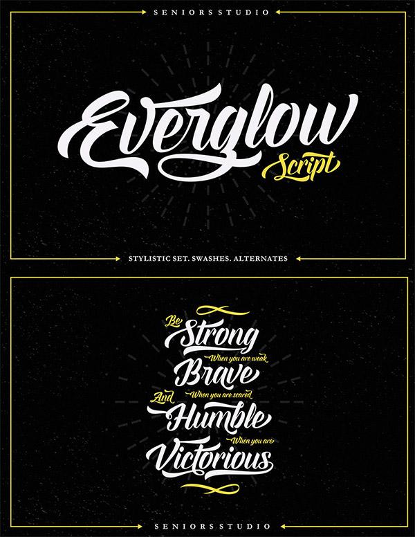 Everglow Script font preview