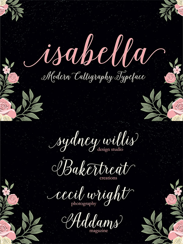 Isabella Script font preview