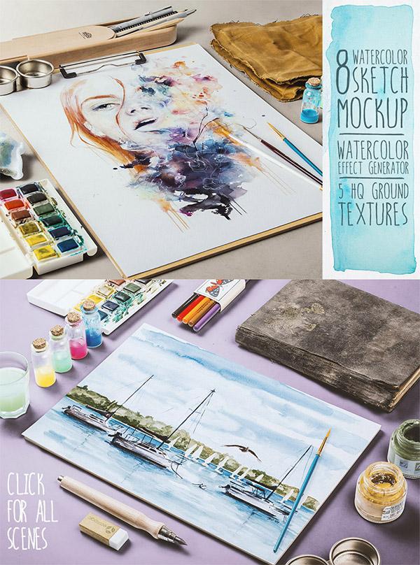 Watercolor Sketch Mockup preview