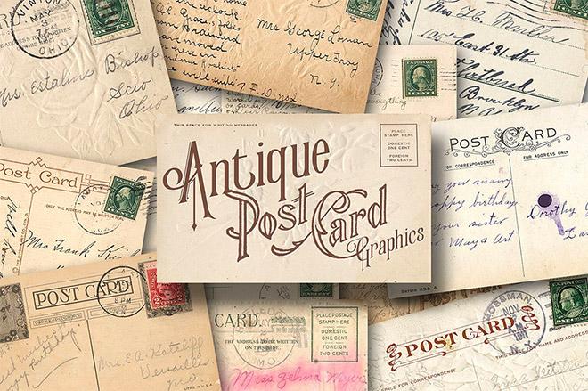 90+ Antique Postcard Graphics