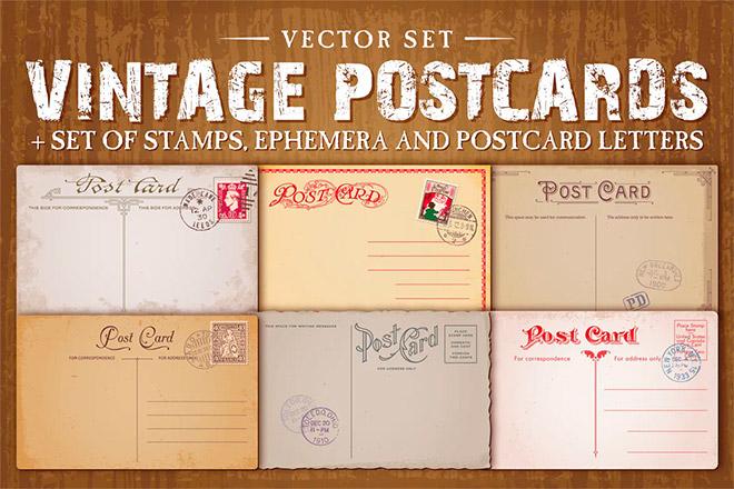 Vintage Postcards Vector Set