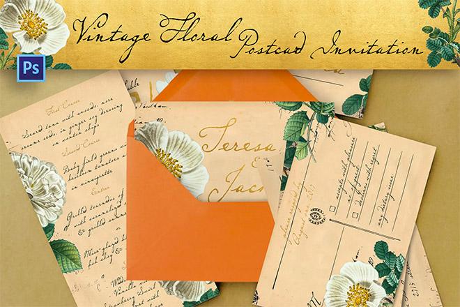 Vintage Floral Postcard Invitation Package