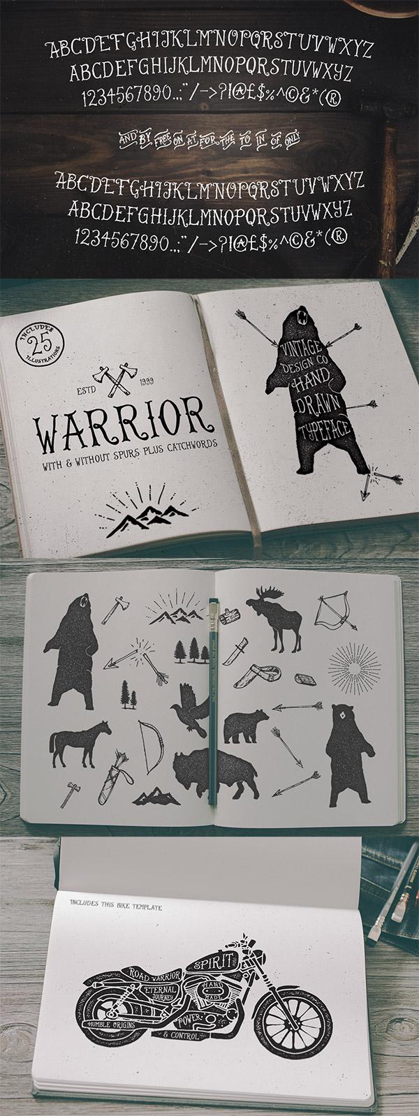 Warrior Hand Drawn Typeface