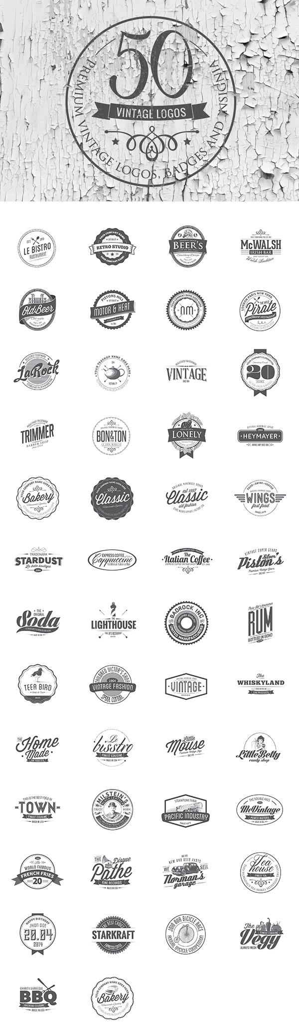 50 Vintage Logo Templates