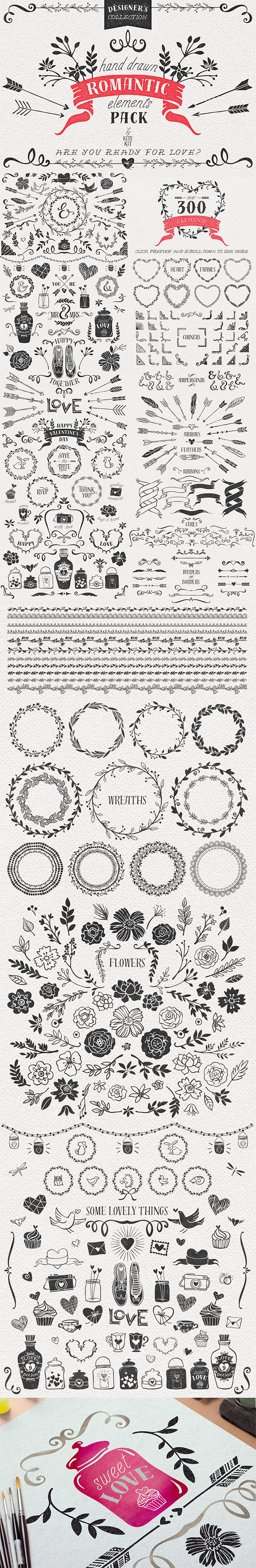 Hand Drawn Romantic Vector Pack preview