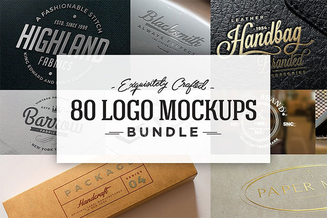80 Logo Mockups Bundle