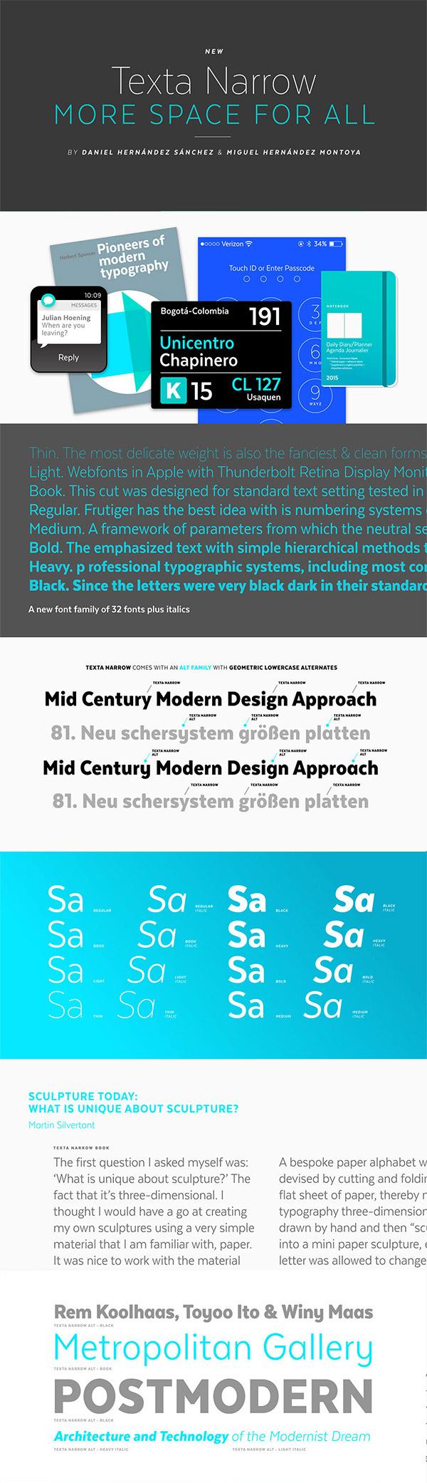 Texta Narrow font preview