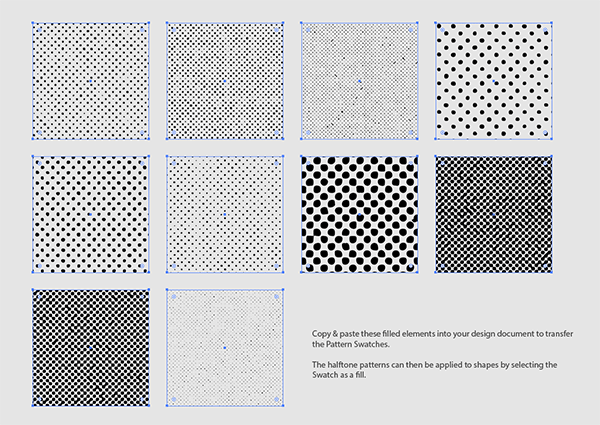 Vector halftone pattern swatches
