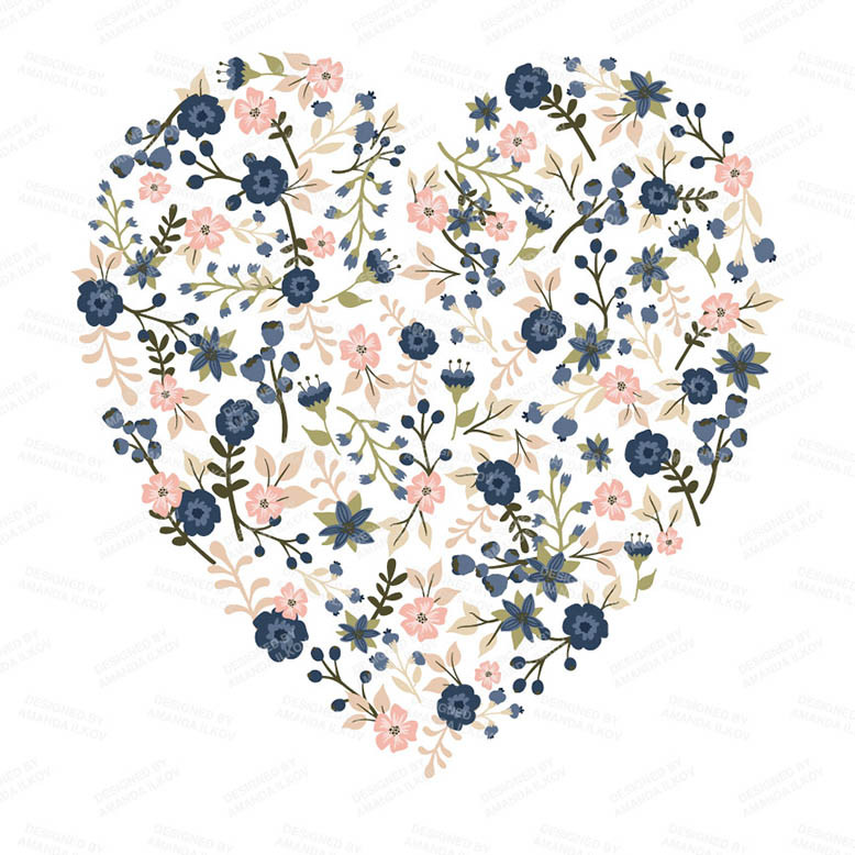 Floral Heart Vector Clipart For Premium Members