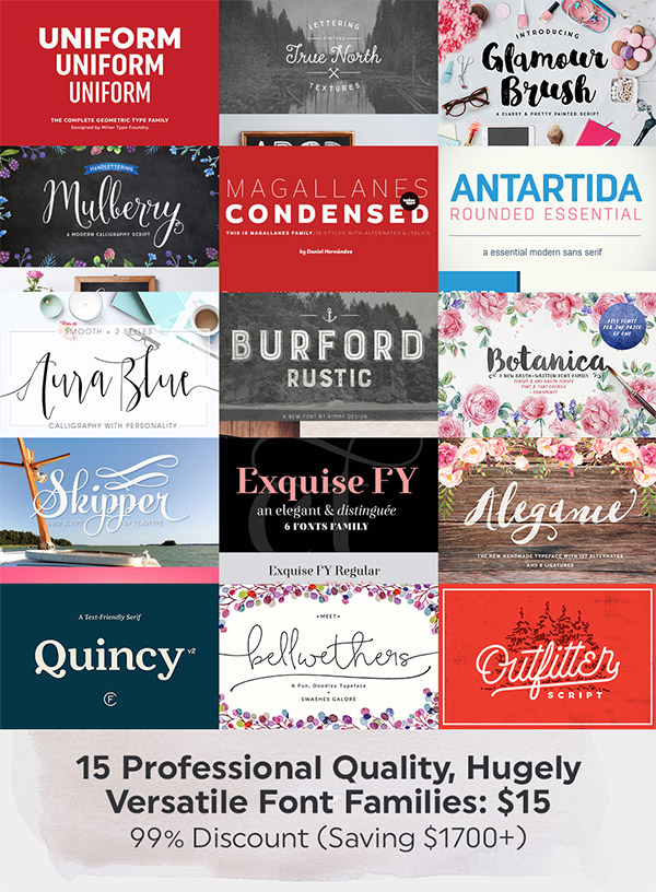 15 Professional Quality Font Families
