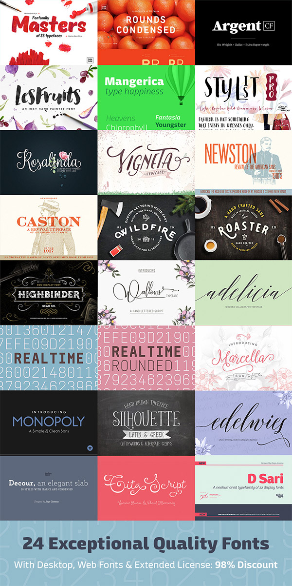 24 Exceptional Quality Fonts for 98% Off