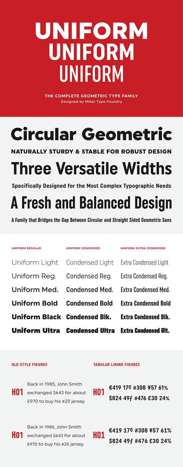 Uniform font preview