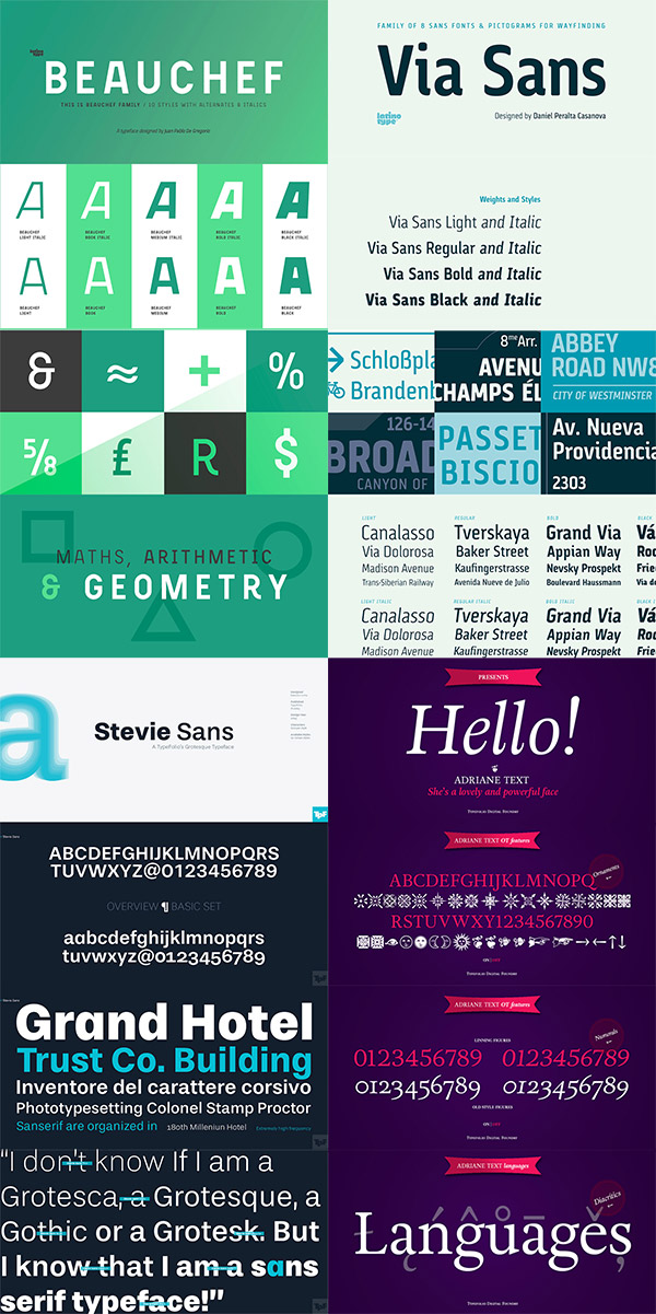 Four professional fonts preview
