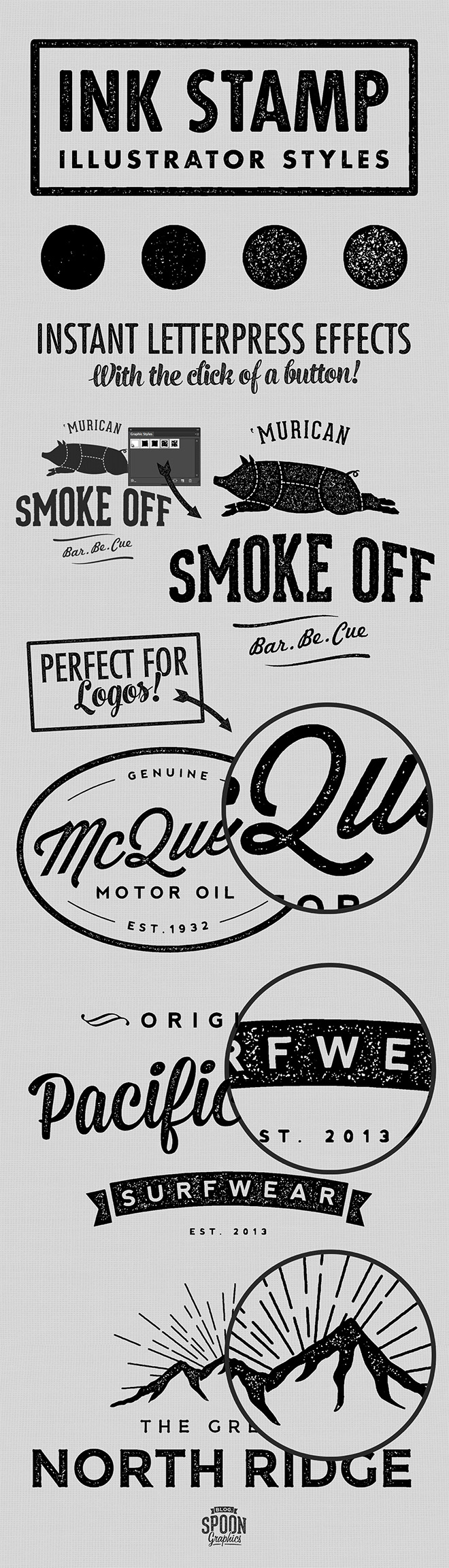 4 Free Ink Stamp Effect Styles for Adobe Illustrator