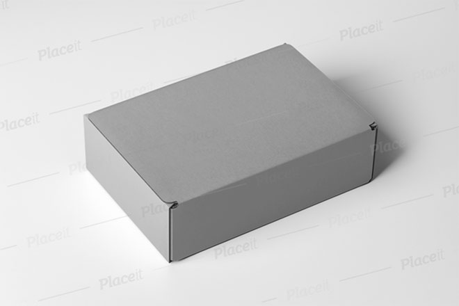 Mailing Box Mockup Featuring a Solid Color Backdrop