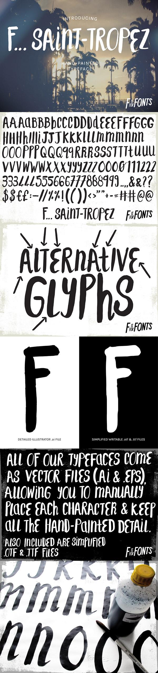 Saint Tropez hand painted font