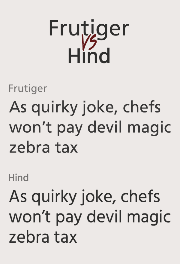 Frutiger vs Hind Font