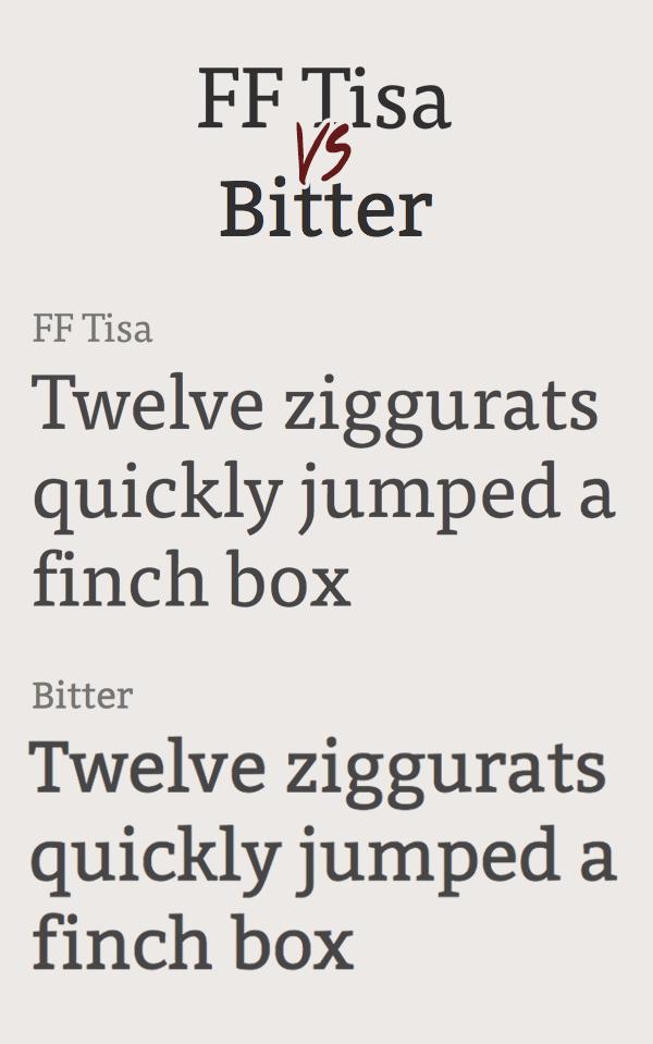 FF Tisa vs Bitter Font