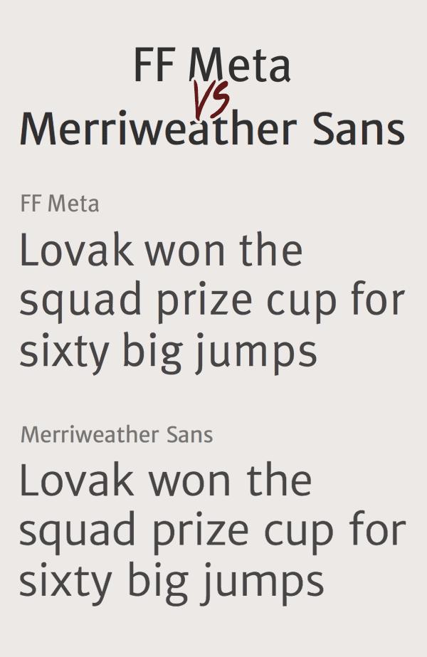 FF Meta vs Merriweather Sans Font