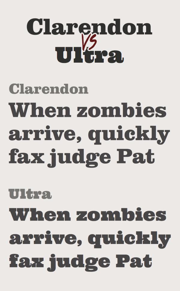 Clarendon vs Ultra Font
