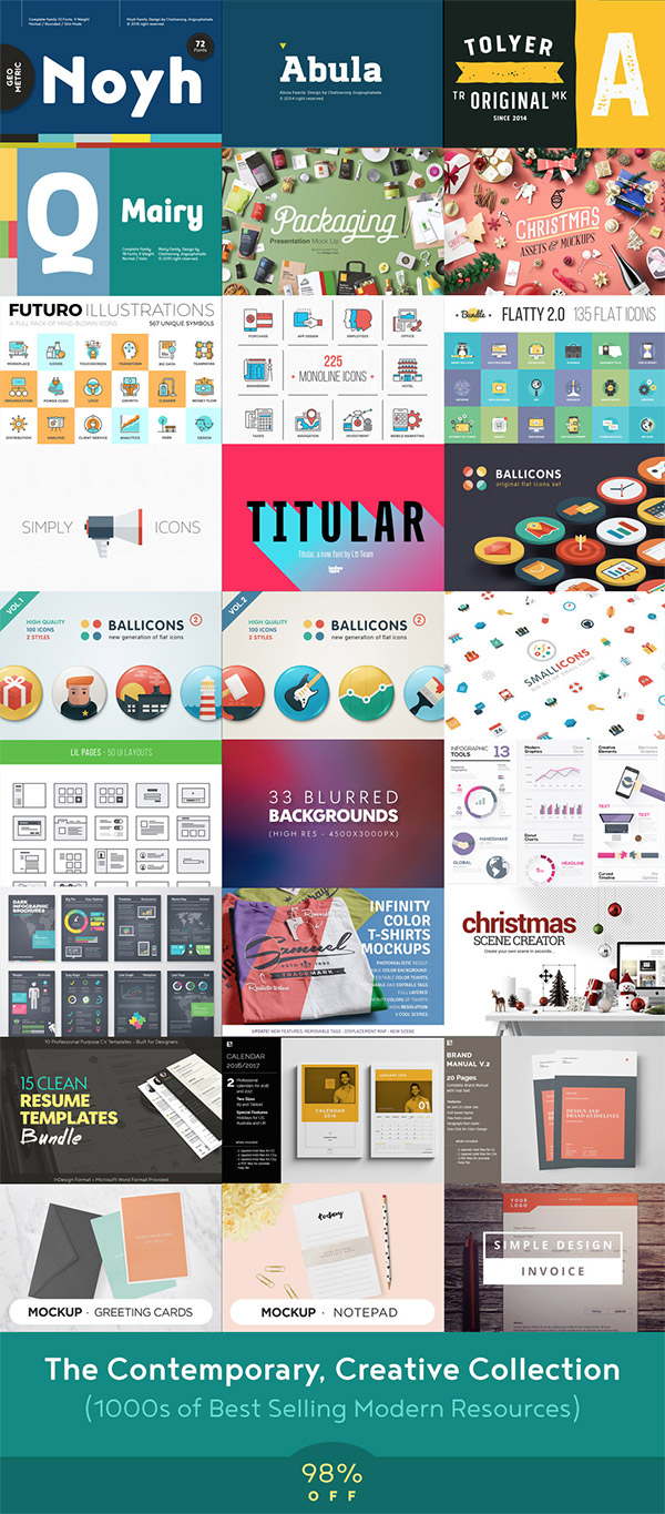 1000s of Clean & Modern Design Resources for 98% Off