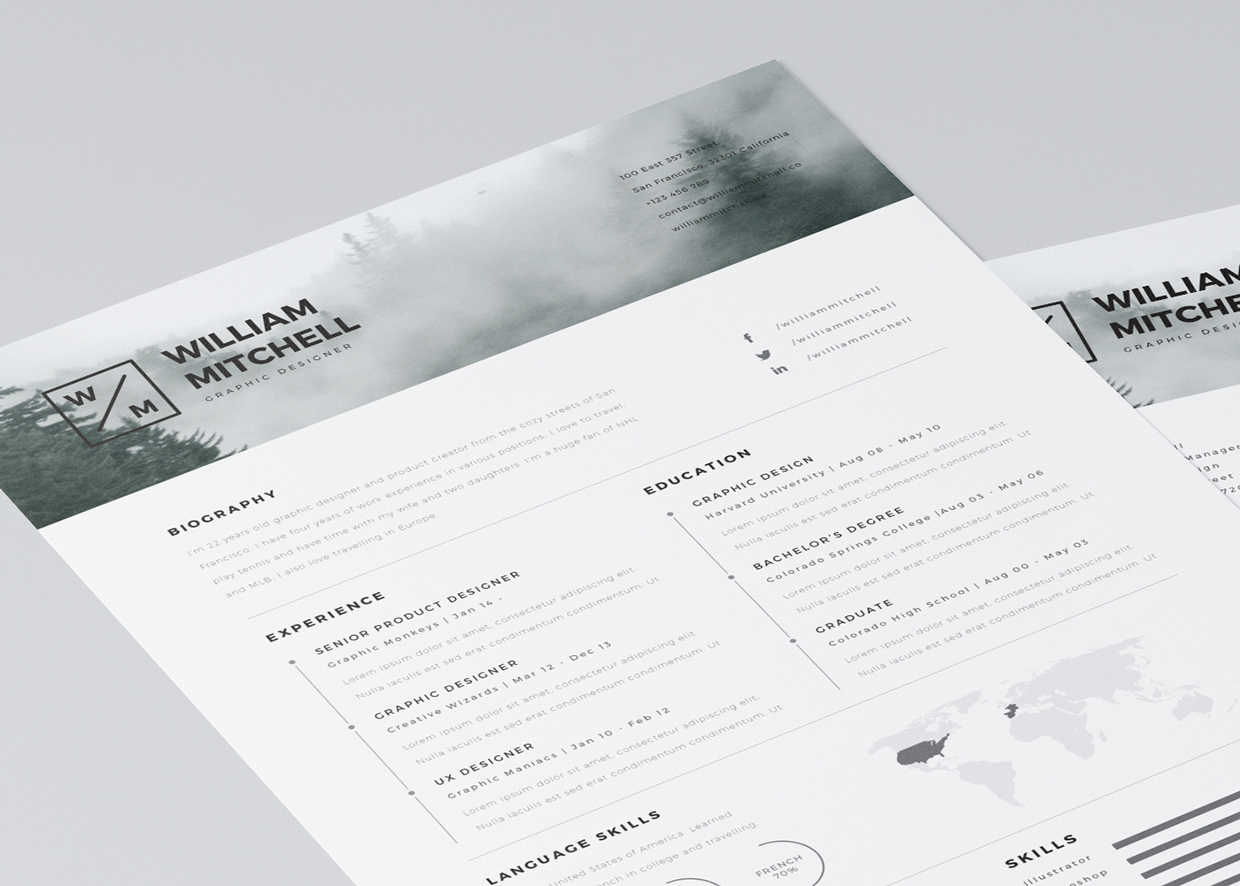 20 free editable cvresume templates for ps ai - Resume Templates Graphic Design Free