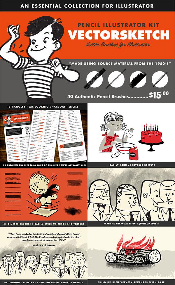 VectorSketch – Charcoal Pencils for Illustrator