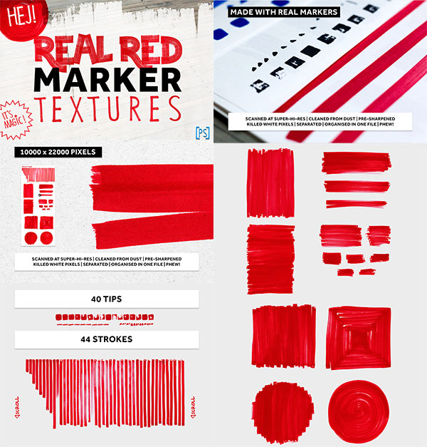 Real Red Marker Textures