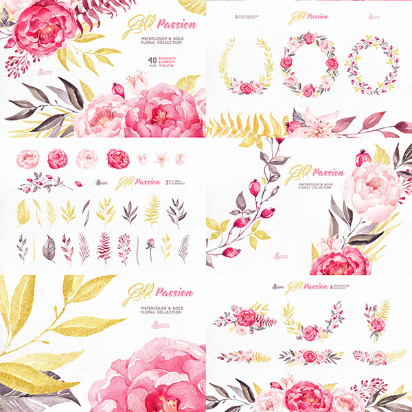 Gold Passion. Floral collection