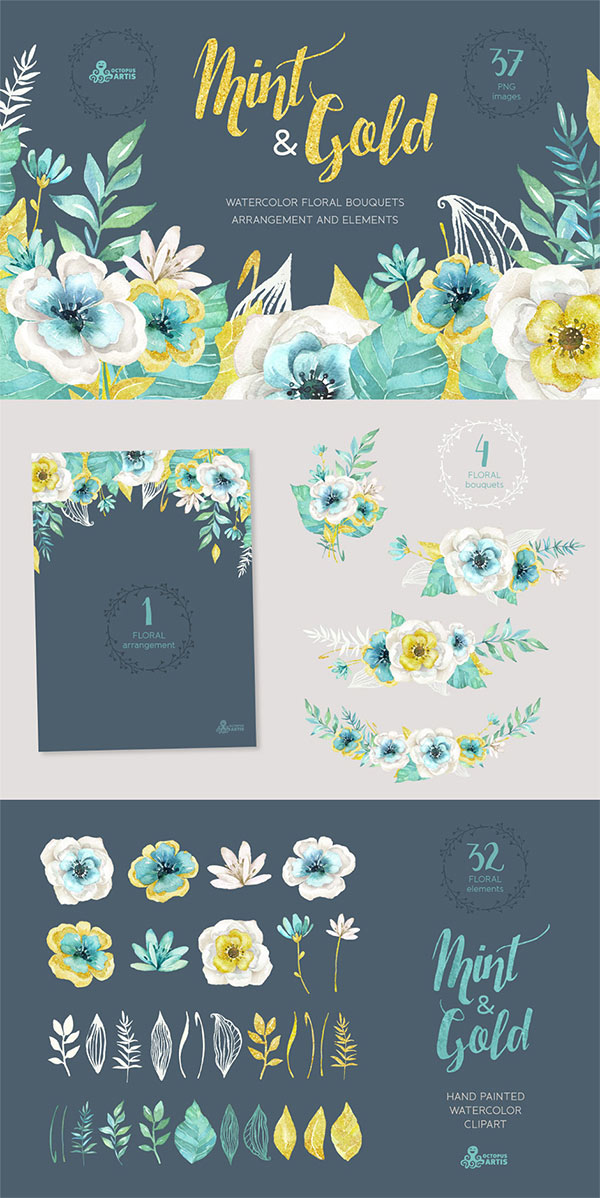 Mint & Gold Flowers