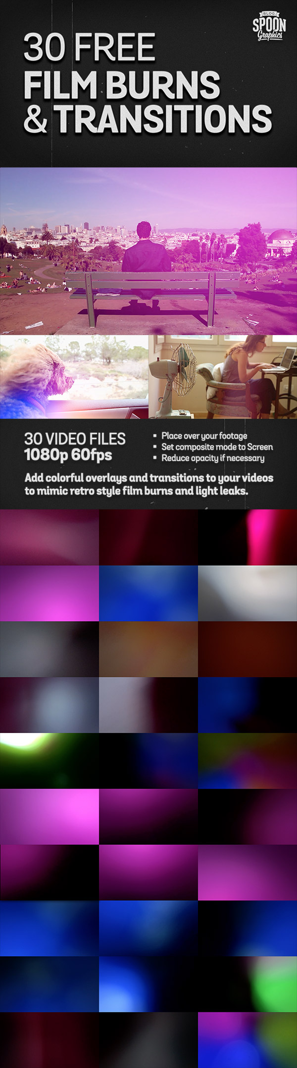 30 Free Film Burns and Transitions