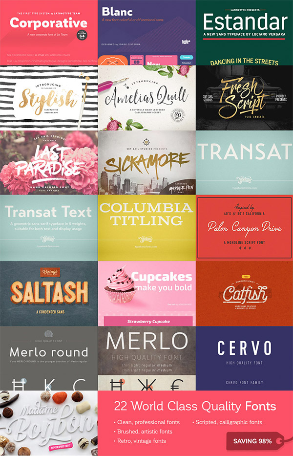 22 World Class Quality Fonts