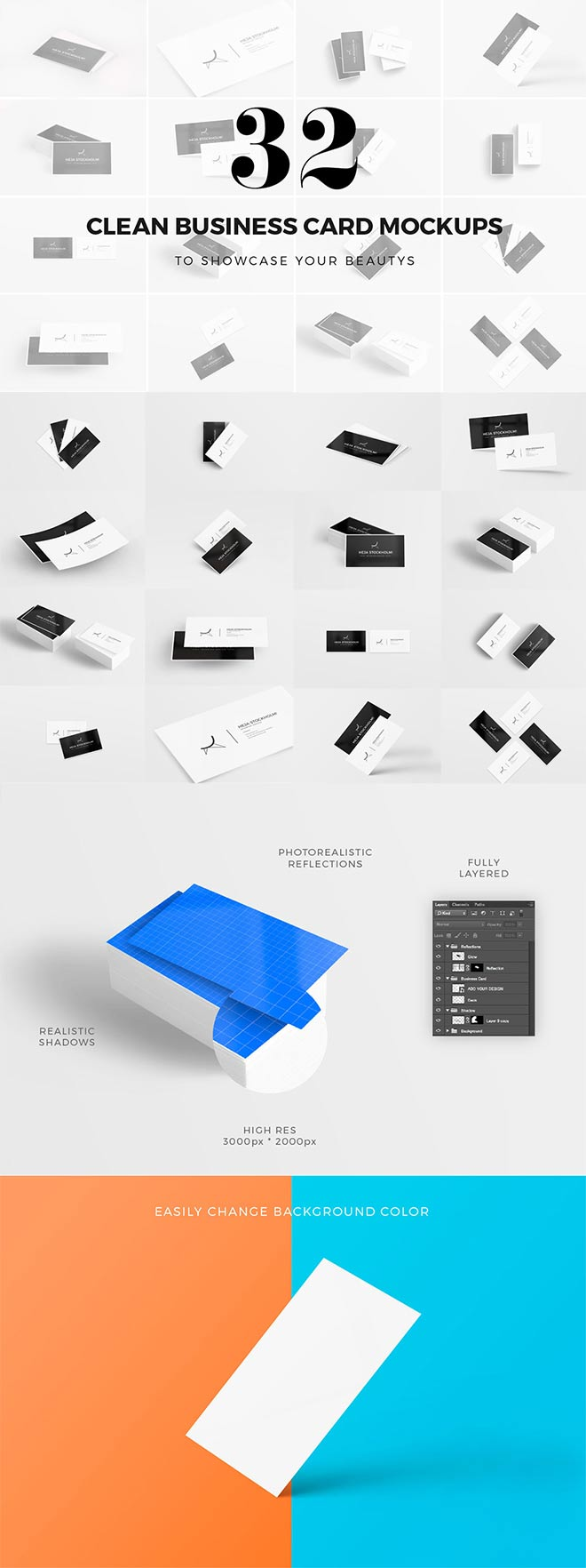 32 Clean Business Card Mockups