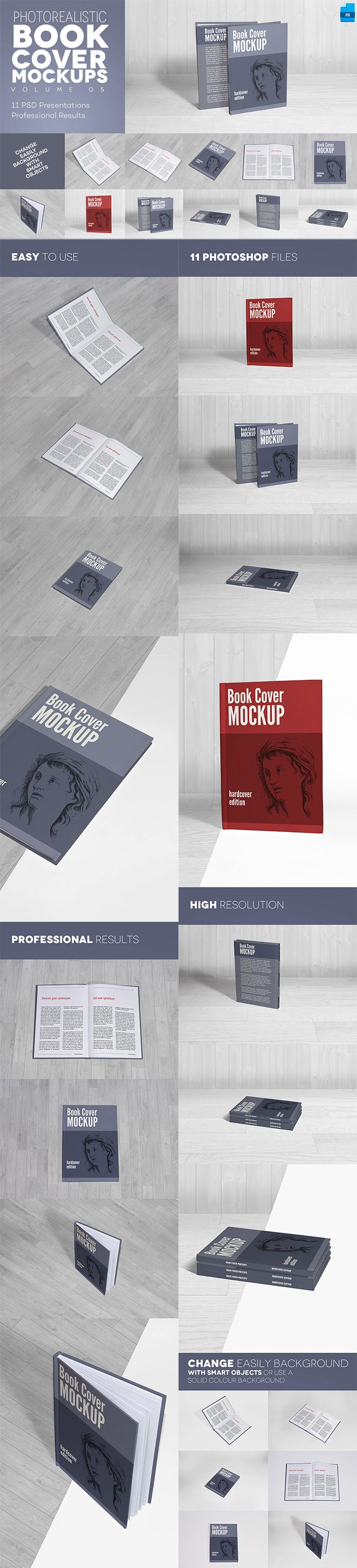 Hardcover Book Cover Mockups
