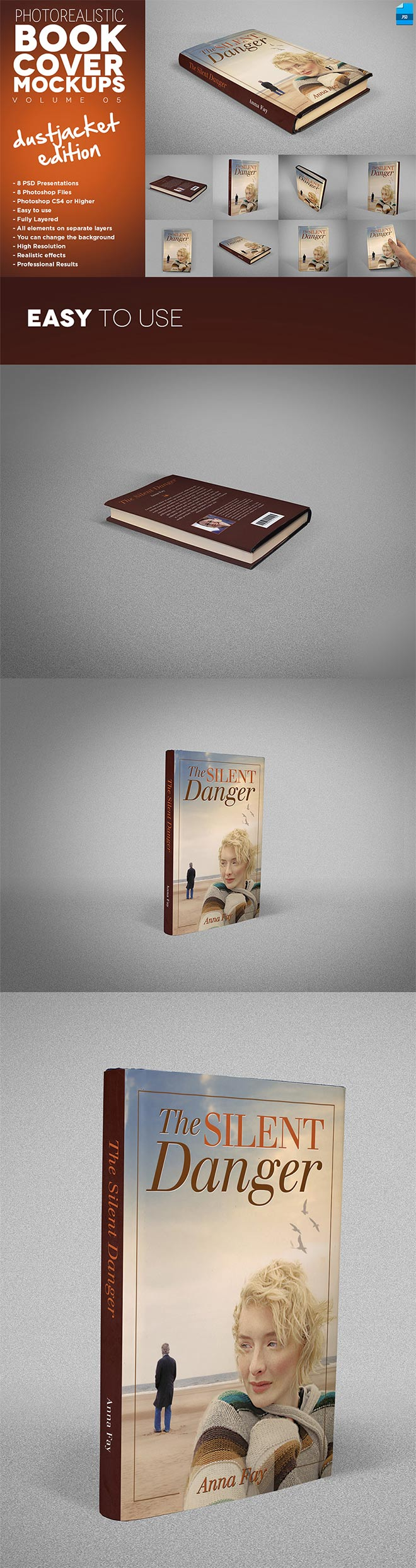 Book Cover Mockup Dust Jacket Edition