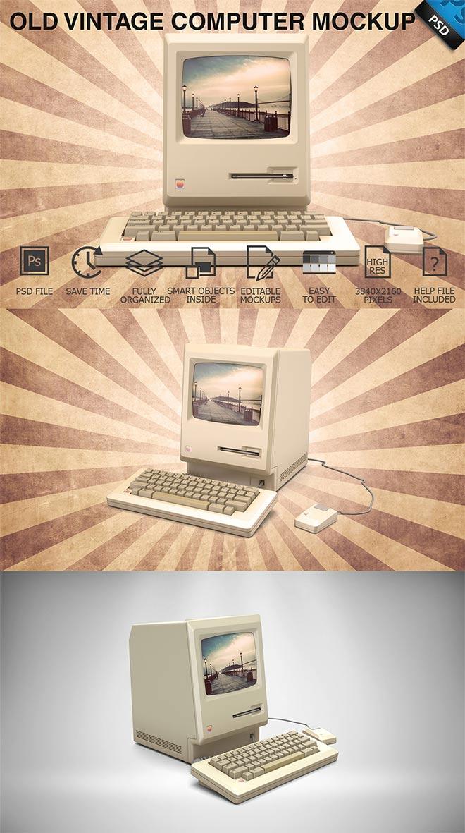Old Vintage Computer Display Mockup