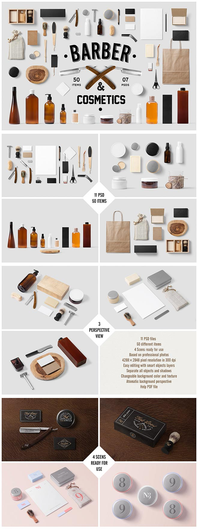 Barber and Cosmetics Branding Mock-Up
