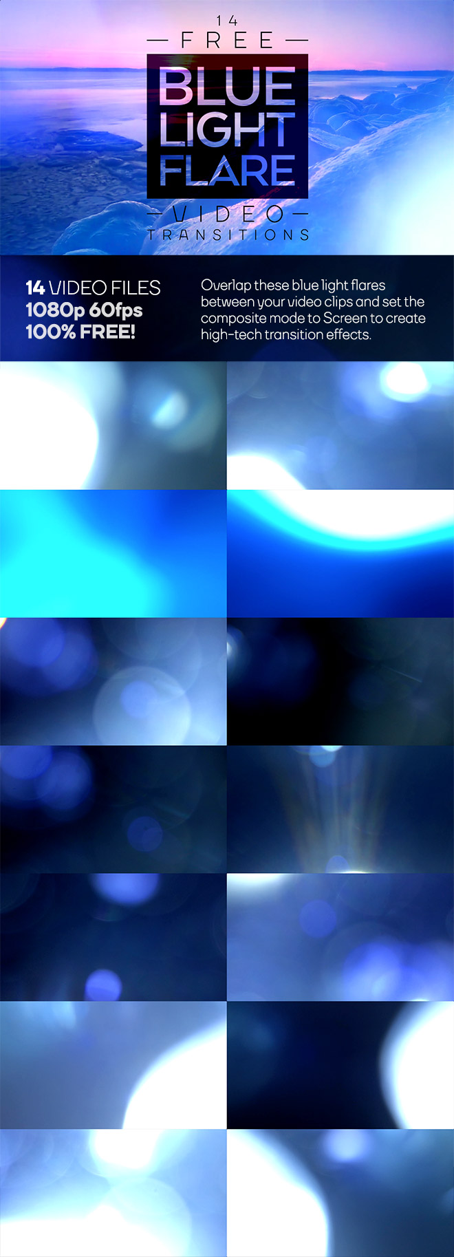 14 Free Blue Light Flare Video Transitionsransitions