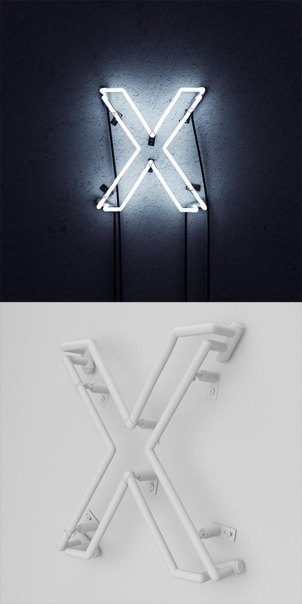 X 3D Neon Sign by Elias Klingén